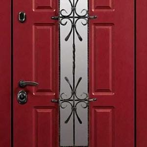 Дверь со стеклом и ковкой DR252