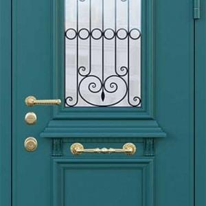 Дверь со стеклом и ковкой DR247