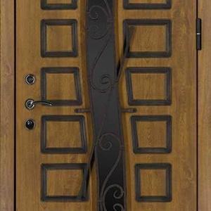 Дверь со стеклом и ковкой DR251