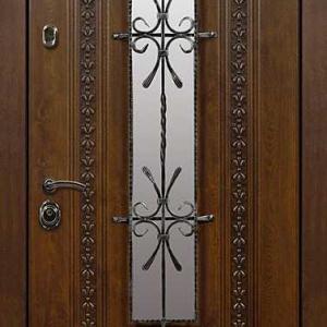 Дверь со стеклом и ковкой DR233